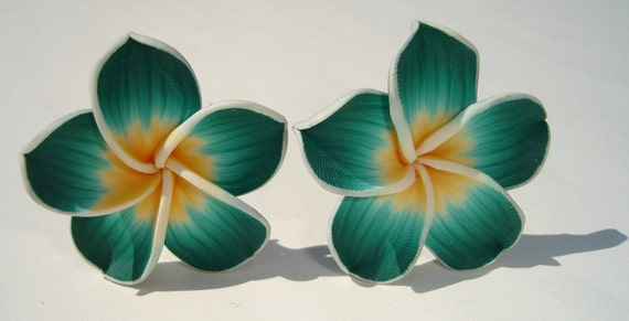 large sweet green yellow and white polymer clay plumeria hibiscus flower clip on earrings