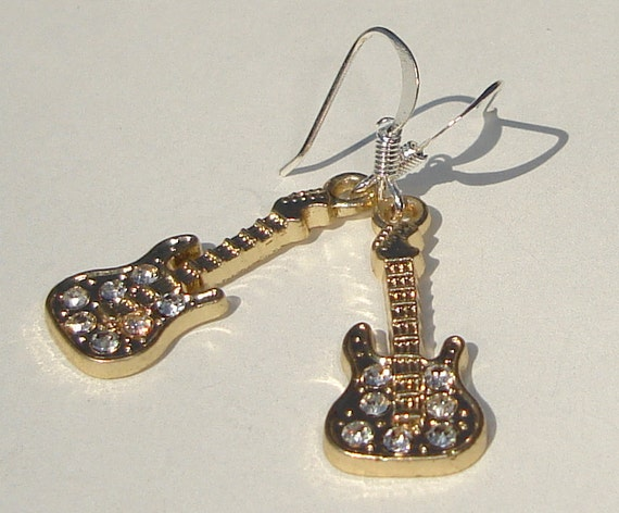 gold tone guitar charm with sparkling crystals pierced dangle hand made earrings