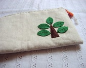 Zipper pouch with felt-Tree