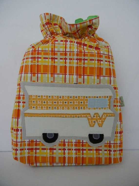 Yellow Winnebago Toy Bag on orange plaid/green lining