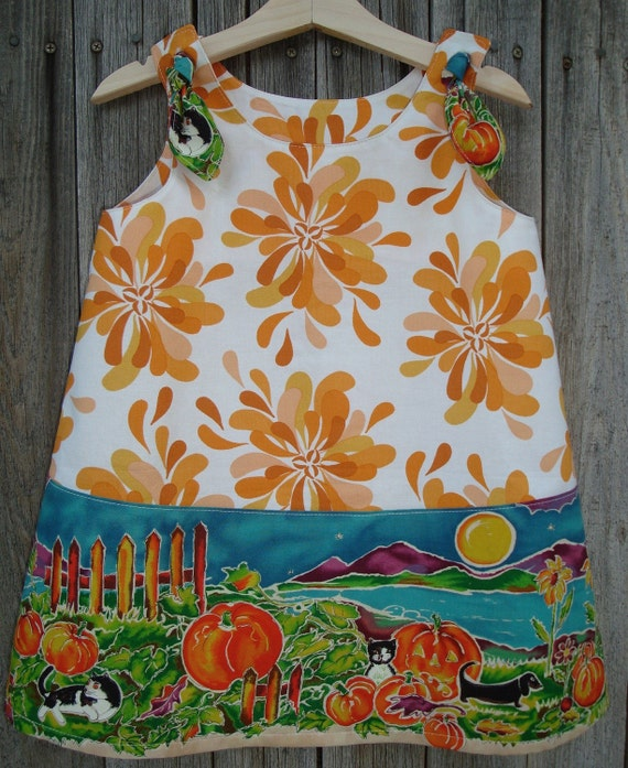 Custom Fall Halloween Thanksgiving Pumpkin Dress 3T 4T or Top 5T