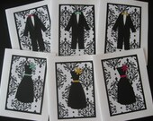 6 Black and White Damask Add A Color Handmade Bridesmaid or Groomsman Thank You Cards (Set of Six)