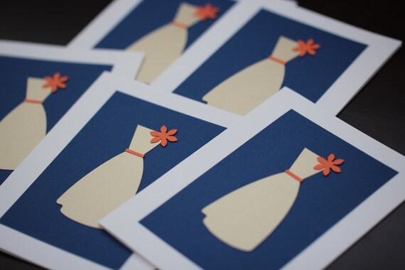 Reserved for Emily Eight Bridesmaid Thank You Cards - Blue and Orange