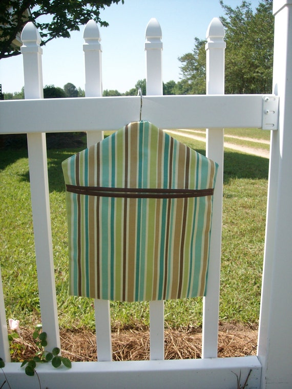 Deluxe Brown, Aqua, Teal and Green Clothespin Bag, Recycle Grocery Bags or Storage Bag