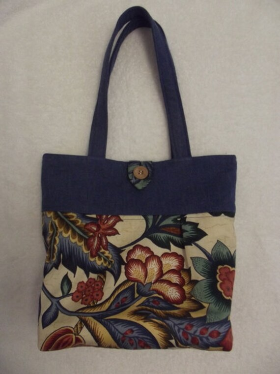 Pleated Denim and Floral Purse, Tote, Handbag, Year Round Colors