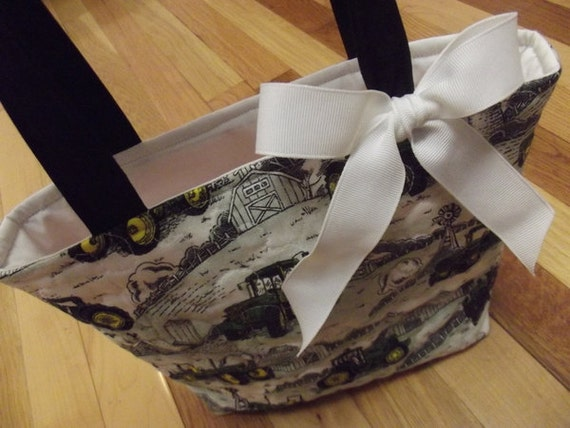 50% OFF SALE - John Deere Quilted Tote, Purse, Lunch Bag or Small Laptop Bag.