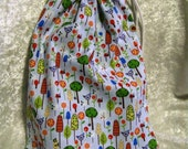 Layla Knitting Project Bag - Medium - Birds and Trees on Blue