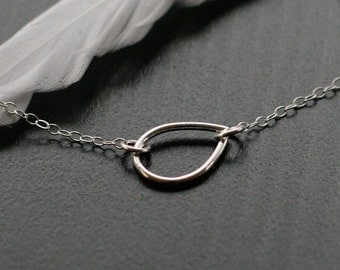 "sterling silver teardrop necklace - ""the year of wonder"" necklace"