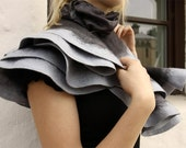Nuno felted shawl - Shades of Gray - Handmade wool and silk
