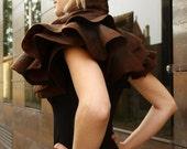 Nuno felted wavy shawl - Dark coffee  - Handmade wool and silk
