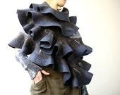 Felted wavy ruffled shawl scarf - Deep Blue - Handmade wool and silk