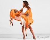Linen scarf felted shawl - Elegant orange fox scarf - Handmade - For All Seasons - Special Occasion
