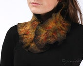 Felted scarf - Ruffled wavy collar - Dark Brown and Mixing Fall colors - Soft merino wool - Gift under 50 USD - FREE Next Day Shipping