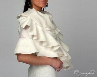 Scarf felted wavy ruffled shawl scarf - White Dream - Wedding Bride - Handmade wool and silk