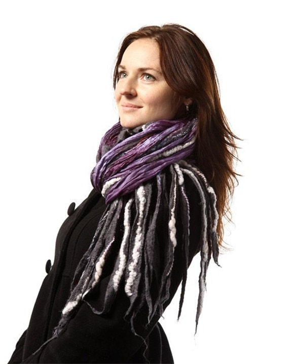 Felted scarf .... Violet Fizz...  All seasons...