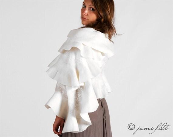 SPRING SALE -50% - Felted wavy ruffled shawl scarf - White Dream - Wedding Bride - Handmade wool and silk