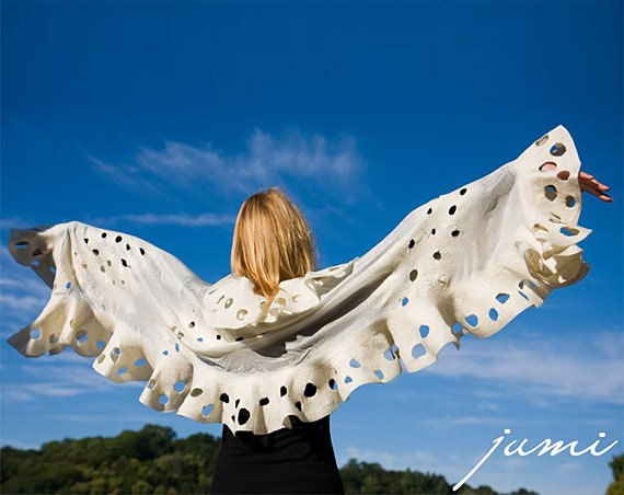 Felted wavy ruffled shawl scarf - Circles All Around - Handmade wool and silk - Special Occasion