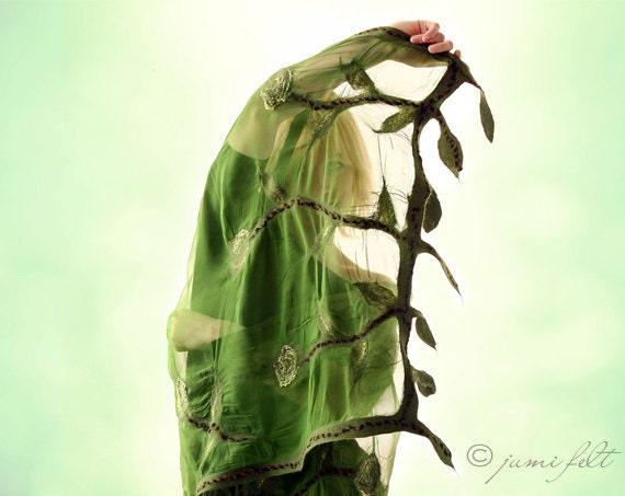 Green leaves nuno felted shawl - Spring Silk scarf - Handmade silk and wool