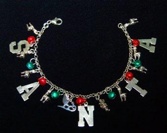 """SALE Sterling Christmas """"Santa"""" Bracelet 8 Reindeer, Santa, Sleigh Bells. Ships Priority for FREE!"""