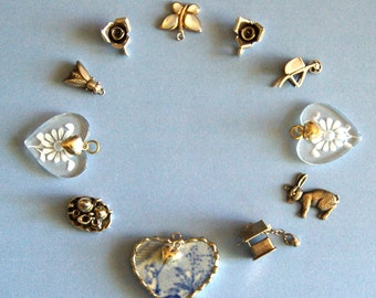 Charm Lot: 14 Vintage Garden Charms, Sterling, Broken China, Mother of Pearl