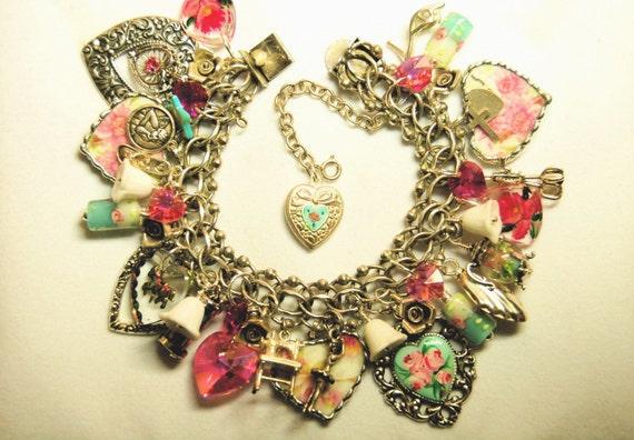 Vintage Romantic Charm Bracelet Vintage Sterling, Kiss Timer, Broken China Hearts, - SHIPS PRIORITY FREE