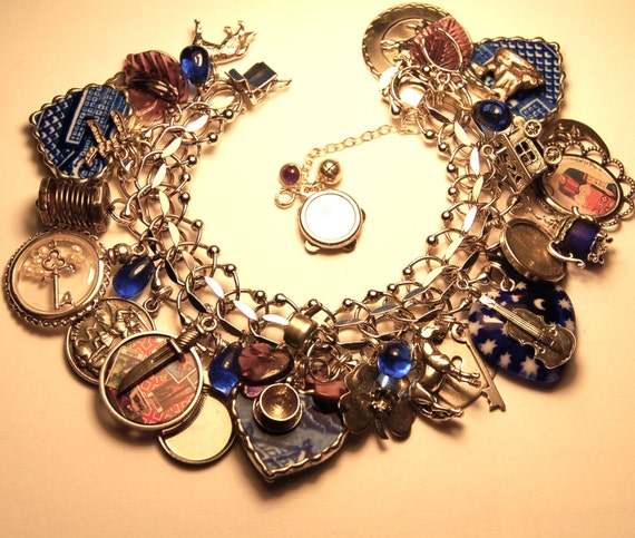 Vintage Gypsy Charm Bracelet,  Sterling w/lots of Sterling Charms, Ships FREE PRIORITY to USA