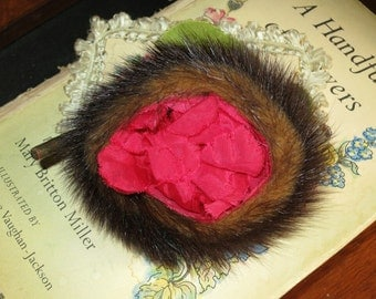 Now on Sale- Extraordinary Vintage Fur and Rose Pin