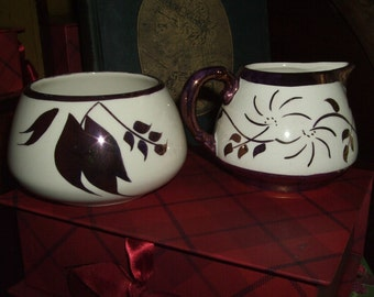 NOW ON SALE - ENGLISH SANDLAND WARE COPPER LUSTRE CREAMER AND SUGAR