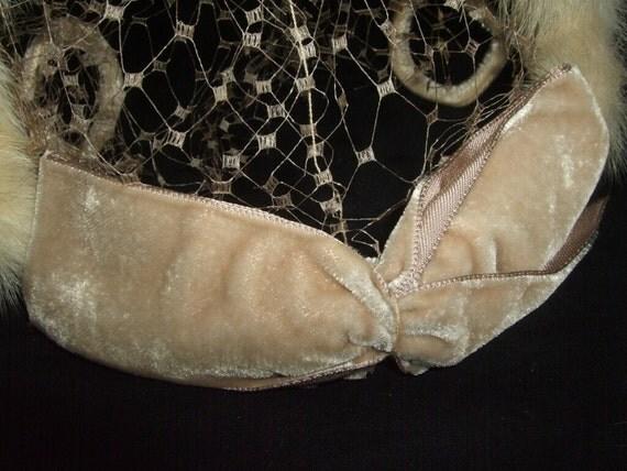 RESERVED -Vintage Fur and Velvet Head Piece