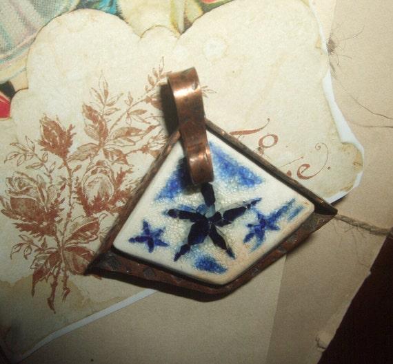 Vintage Copper and Porcelain Star Fish Brooch