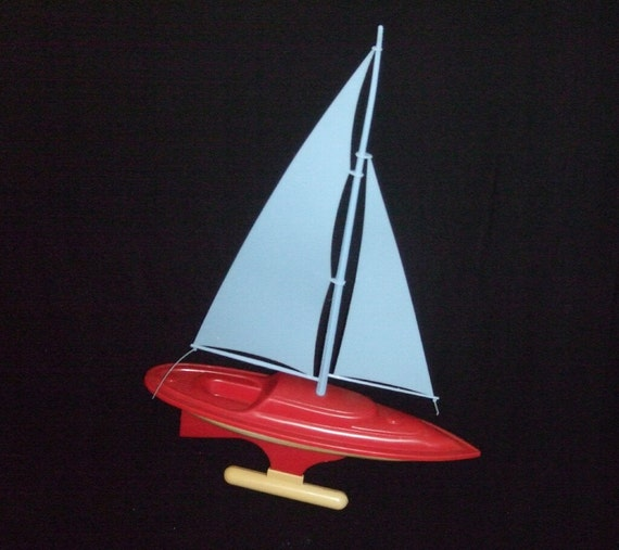 Vintage 1950s Plastic Toy Sail Boat By Saltsmansoap On Etsy