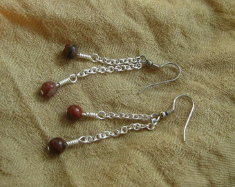 Mahogany Obsidian Mother and Child Hypoallergenic Earrings