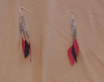 Red and Black Feather Cascade Earrings