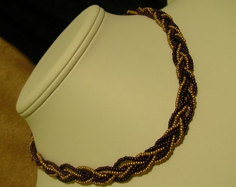 Tatiana. Braided Seed Bead Necklace