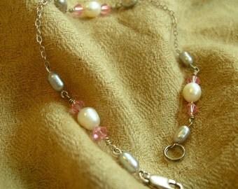 Darling FRESHWATER PEARL and pink SWAROVSKI bracelet