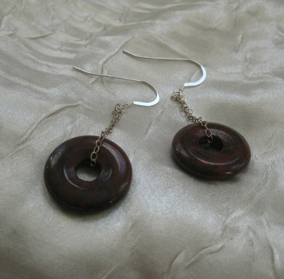 Brecciated Jasper donut earrings
