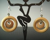 Mod circles . . . retro chic wood and crystal earrings