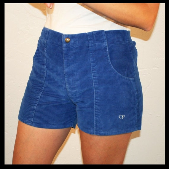 Vintage 70s 80s Op Blue Corduroy Shorts S M