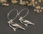 Sterling bird earrings, silver hoop earrings, modern jewelry nature inspired - DvoraSchleffer