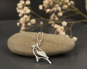 Bird necklace, Sterling silver bird pendant, modern jewelry for everyday wear - DvoraSchleffer