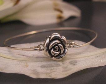 Bangle stacking bracelet, Silver rose bracelet bangle, Romantic jewelry