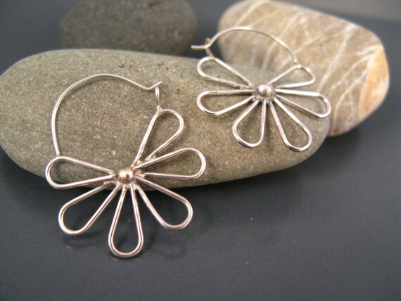 Elegant sterling silver flower hoops