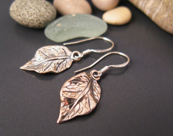 Dangle earrings, Sterling silver leaf earrings, everyday earrings in oxidized silver