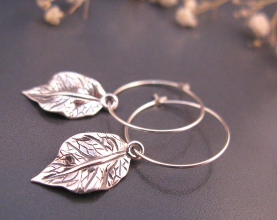 leaf hoop earrings, Sterling Silver leaf earrings, nature inspired jewelry