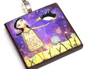 GIRL WITH FLYING PENGUIN wooden fine art pendant