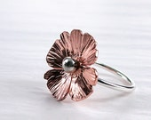Poppy Ring  hammered Copper, Sterling silver  Spring fashion  Nature
