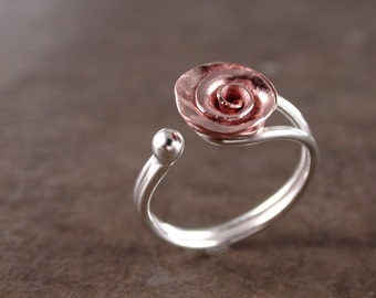 Rose ring, Copper, Sterling silver, adjustable, Flower jewelry