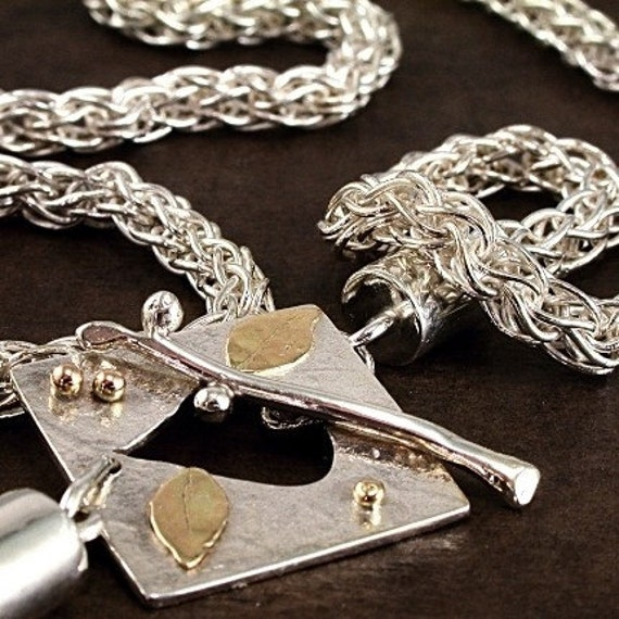 Handmade Chain necklace, Fine Silver, 14k Gold, front toggle, Loop in Loop jewelry