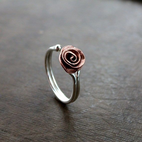 Ring  Copper  Sterling  adjustable  handcut Rose  handmade mixed metal - ready to ship or made to order
