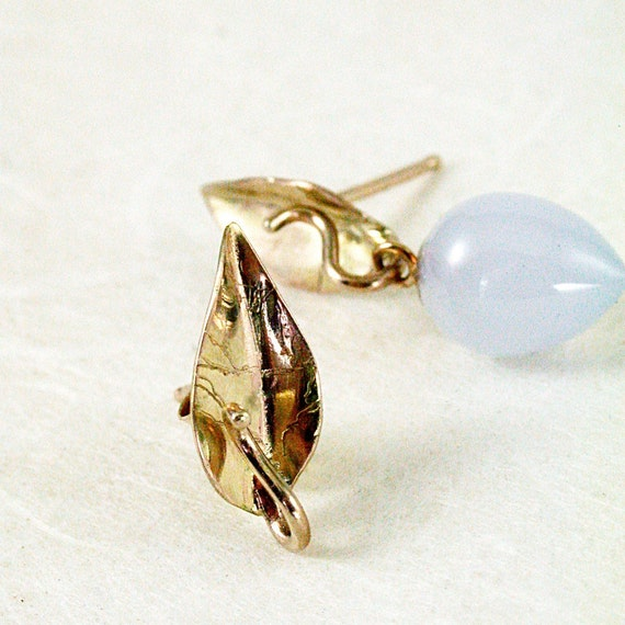 14k Gold studs, leaves,  Gemstone drop earrings, Detachable stones, Nature inspired jewelry,  Golden Leaves